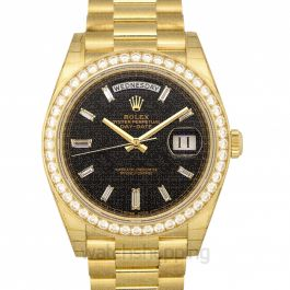 Rolex Day-Date 40 Yellow Gold Black Diamond Dial & Diamond Bezel President Bracelet