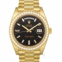 Rolex Day-Date 40 Yellow Gold Black Diamond Dial & Diamond Bezel President Bracelet