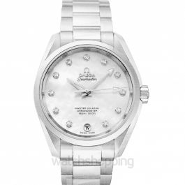 Seamaster Aqua Terra 150M Master Co‑Axial Ladies' 38.5 mm Automatic White Mother Of Pearl Dial Diamonds Ladies Watch