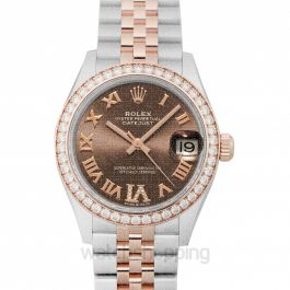 Lady-Datejust 31 Rose Gold/Steel Chocolate Roman Diamond VI Dial & Diamond Bezel Jubilee Bracelet