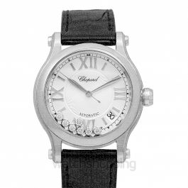 Happy Sport 36 mm  Automatic Silver Dial Diamonds Ladies Watch