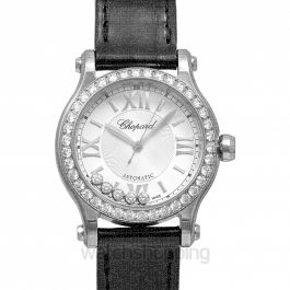 Happy Sport 30 mm Automatic Silver Dial Diamonds Ladies Watch