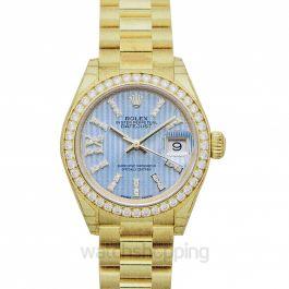 Lady-Datejust 18ct Yellow Gold Automatic Cornflower Blue Diamond Dial Ladies Watch