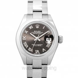 Lady-Datejust 28 Stainless Steel Domed / Oyster / Dark Grey Roman Rolex 28mm