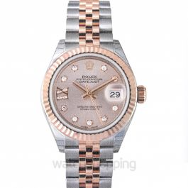 Lady-Datejust 28 Rolesor Rose Fluted / Jubilee / Sundust Diamond