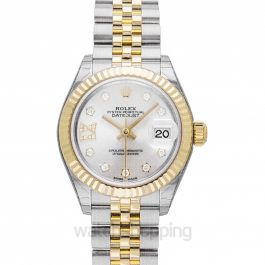 Lady-Datejust 28 Rolesor Yellow Fluted / Jubilee / Silver Diamond