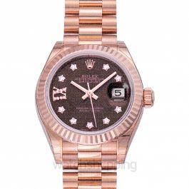Lady-Datejust 28 Everose Fluted  / President / Chocolate Diamond