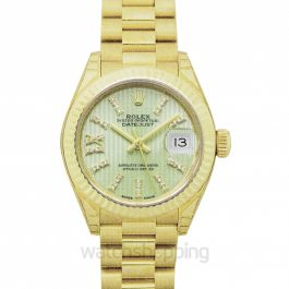 Lady-Datejust 18ct Yellow Gold Automatic Cornflower Green Diamond Dial Ladies Watch