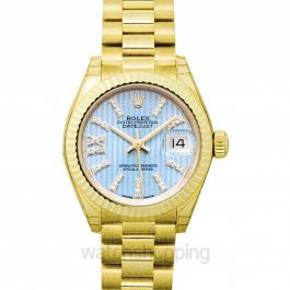 Lady-Datejust 18ct Yellow Gold Automatic Cornflower Blue Diamond Dial Ladies Watch