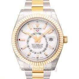 Sky-Dweller Stainless Steel / Yellow Gold / White