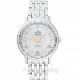De Ville Prestige Co‑Axial 32.7 mm Automatic White Mother Of Pearl Dial Diamonds Ladies Watch