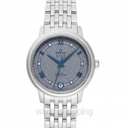 De Ville Prestige Co-Axial 32.7 mm Automatic Grey Dial Diamonds Ladies Watch