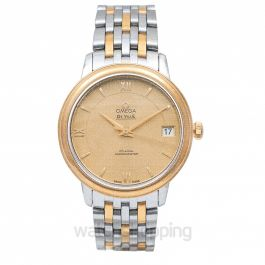 De Ville Prestige Co‑Axial 32.7 mm Automatic Champagne Dial Yellow Gold Ladies Watch