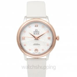 De Ville Prestige Co‑Axial 32.7 mm Butterfly Automatic White Pearled Mother Of Pearl Dial Red Gold Ladies Watch