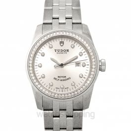 Glamour Date Swiss Steel Automatic Silver Dial Diamonds Ladies Watch