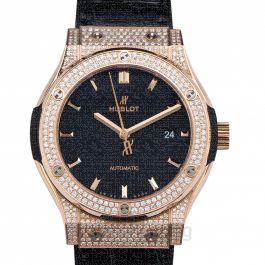 Classic Fusion Automatic Black Dial Diamonds 18kt Rose Gold Men's Watch