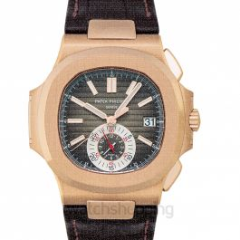 Patek Philippe Nautilus Black-Brown Dial 18kt Rose Gold Case Matt Dark Brown Leather Men's Watch