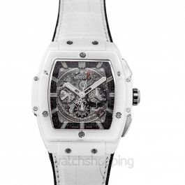 Spirit Of Big Bang White Ceramic Automatic Skeleton Dial Ceramic Men's Watch