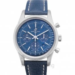 Transocean Chronograph Limited Edition Blue Steel/Leather 43mm