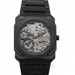 Octo Finissimo Extra Thin Manual-winding Skeleton Dial Black Ceramic Men's Watch