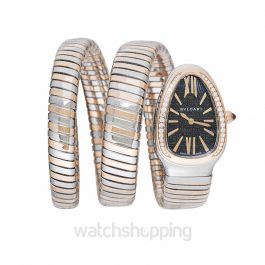 Serpenti Tubogas Quartz Black Opaline Dial Diamond Bezel Ladies Watch