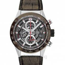 Carrera Calibre Heuer 01 Automatic Brown Skeleton Dial Men's Watch