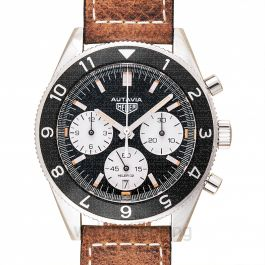Heritage Calibre Heuer 02 Automatic Chronograph Black Dial Men's Watch