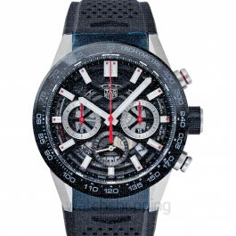 Carrera Calibre Heuer 02 Automatic Black Skeleton Dial Men's Watch