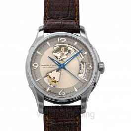Jazzmaster Open Heart Silver Dial Men's Leather Watch 40mm