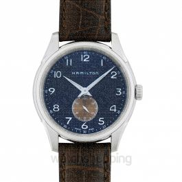 Jazzmaster Thinline Quartz Blue Dial Men's Leather Watch 40mm