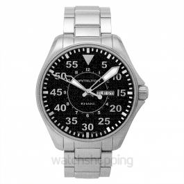 Khaki Aviation Quartz Black Dial Stainless steel Men's Watch