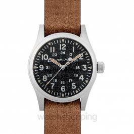 Khaki Field Black Dial Men's Mechanical Watch Brown Steel 38MM