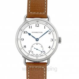 Navy Pioneer Automatic White Dial Tan Leather Men's Watch