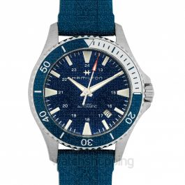 Khaki Navy Automatic Blue Dial Men's Rubber Watch
