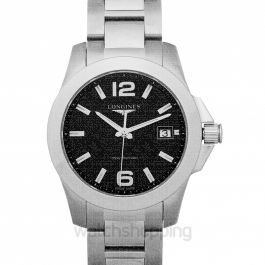 Conquest Quartz Black Dial Ladies Watch