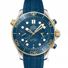 Seamaster Diver 300 M Co-Axial Master Chronometer Chronograph 44 mm Automatic Blue Dial Yellow Gold Men's Watch