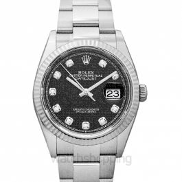 Datejust 36 Automatic Black Dial Diamond Indexes Ladies Jubilee Watch