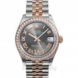 Datejust 31 Automatic Rhodium Dial Diamond Bezel Oystersteel and 18 ct Everose Gold Ladies Watch
