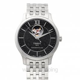 T-Classic Tradition Powermatic 80 Open Heart Automatic Black Dial Men's Watch