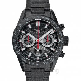 Carrera Calibre Heuer 02 Automatic Black Skeleton Dial Men's Watch