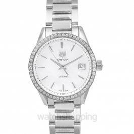 Carrera Calibre 5 Ladies Automatic White Dial with Diamonds Bezel Ladies Watch