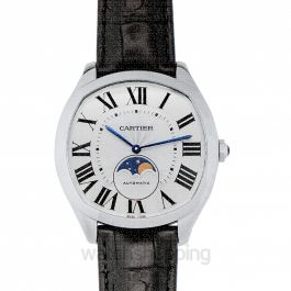 Drive de Cartier Moon Phases 40 mm Automatic Silver Dial Stainless Steel Men's Watch
