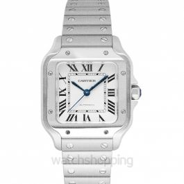 Santos de Cartier 35.1 mm Automatic Silver Dial Stainless Steel Men's Watch