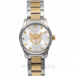 G-Timeless Quartz Silver Dial With Charms Hour Markers Ladies Watch