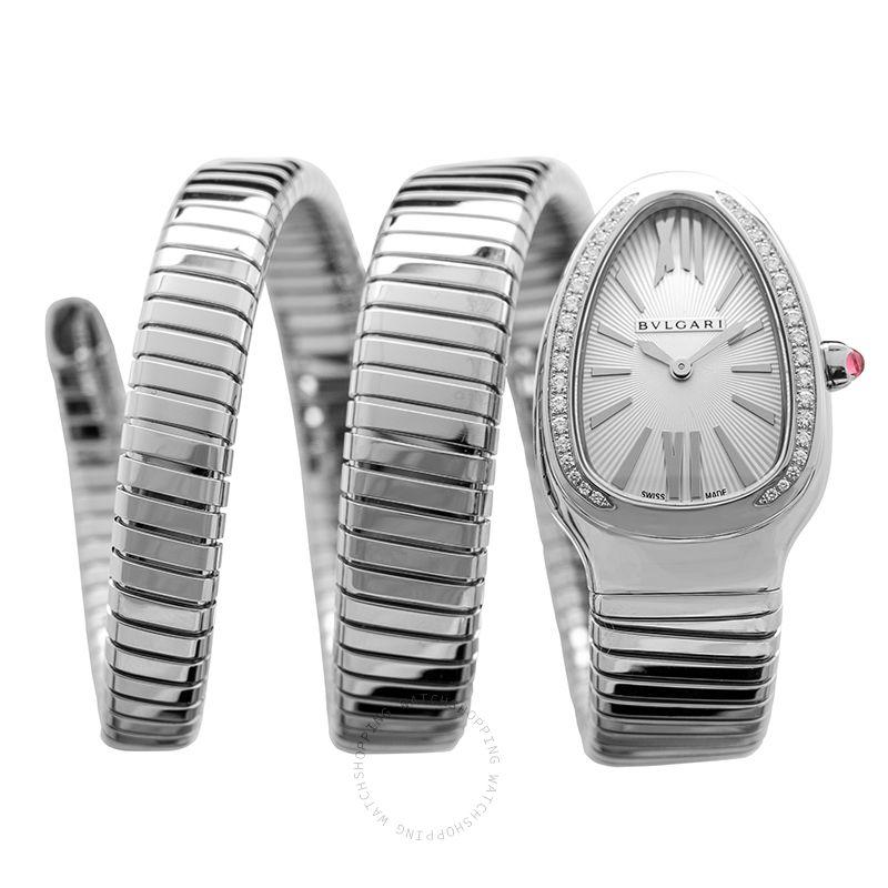 Bvlgari Serpenti Tubogas Quartz Silver Opaline Dial Diamond Ladies Watch