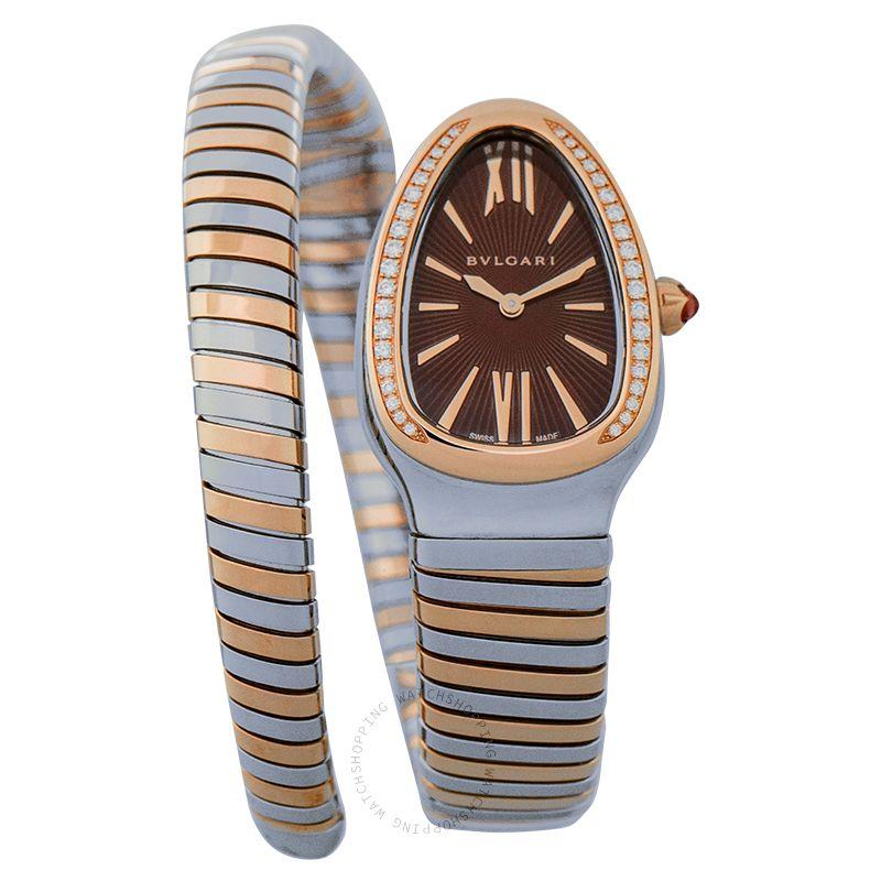 Bvlgari Serpenti Tubogas Quartz Brown Dial Diamond Bezel Ladies Watch 103071