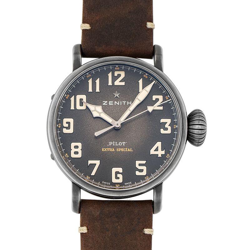 Zenith Pilot Type 20 Chronograph Ton-up Grey Steel/Leather 45mm 11.2430.679/21.C801