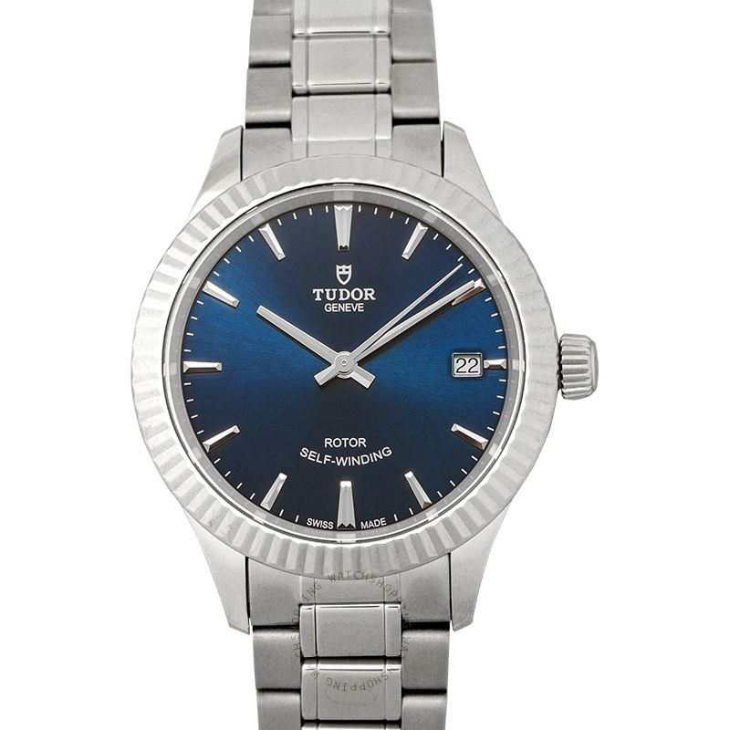 Tudor Style Swiss Stainless Steel Automatic Blue Dial Ladies Watch 12310-0013
