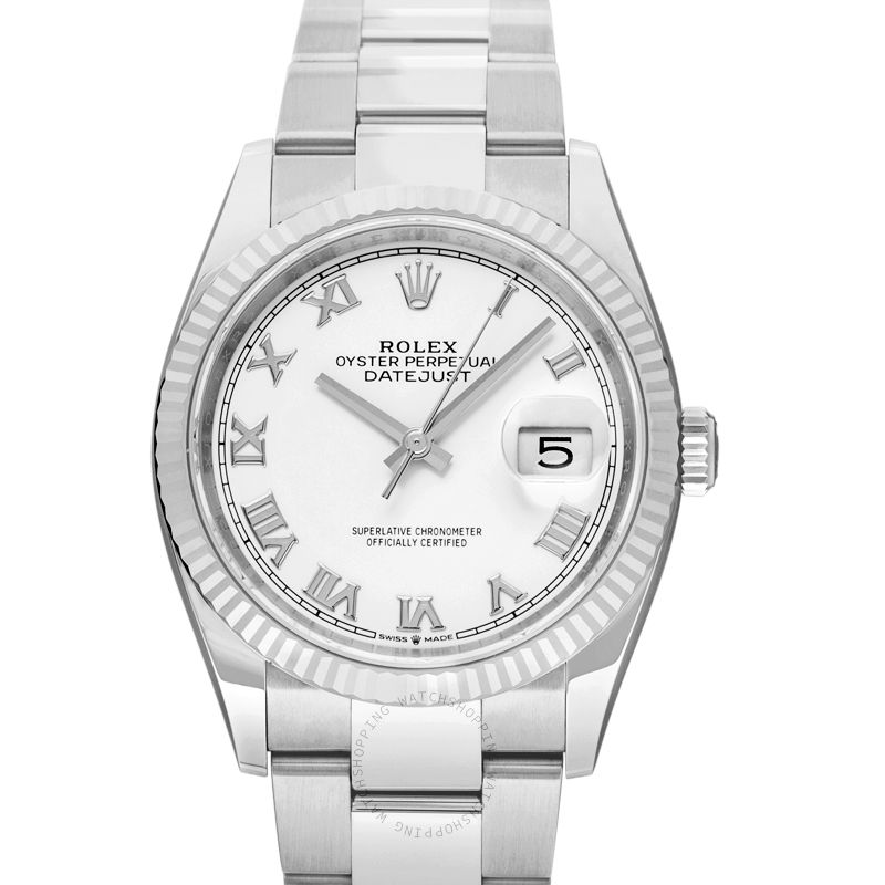 Rolex Datejust 36 Automatic White Dial Oystersteel and 18 ct White Gold Ladies Watch 126234 White Roman Oyster