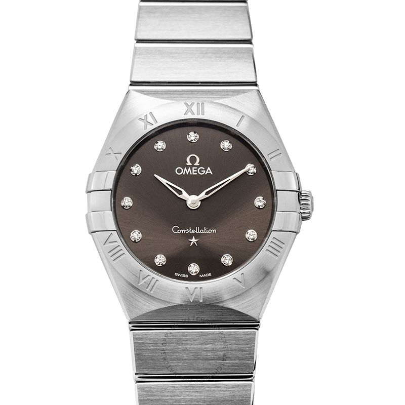 Omega Constellation Manhattan Quartz 28 mm Quartz Grey Dial Steel Diamond Ladies Watch 131.10.28.60.56.001